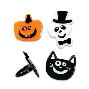 HALLOWEEN SKULL, CAT AND PUMPKIN PUFFY RINGS / 144 pcs