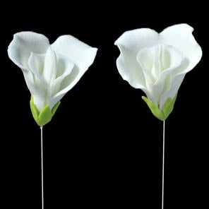 Sweet Pea Flower on Wire - White