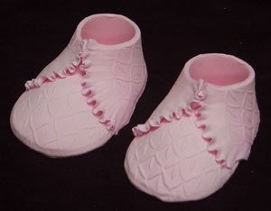Baby Shoes - Knit Embossed - Pink Pair
