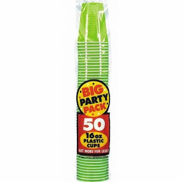 Amscan Big Party Pack Kiwi 16 oz Plastic Cups
