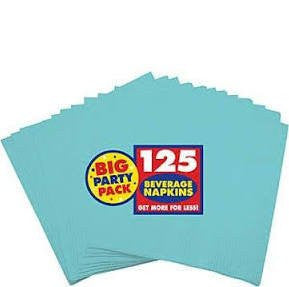Amscan Big Party Pack Robin's Egg Blue Beverage Napkins