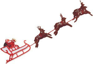 "Santa & Sleigh W/6 Deer - Large - 10"" - 24 / Box"