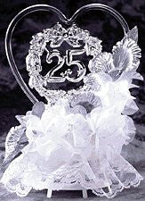 25th Anniversary Glass Heart Topper