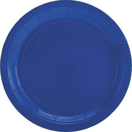 Amscan Big Party Pack Bright Royal Blue Plastic Lunch Plates