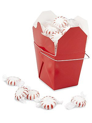 25 Chinese Take Out Boxes RED Pint Size (16 oz) Party Favor and Food Pail