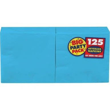 Amscan Big Party Pack Caribbean Blue Beverage Napkins