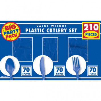 Bright Royal Blue Value Window Box Cutlery Set, 210ct