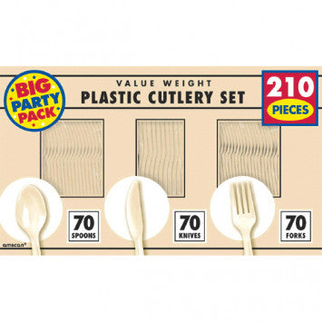 Vanilla Crème Value Window Box Cutlery Set, 210ct