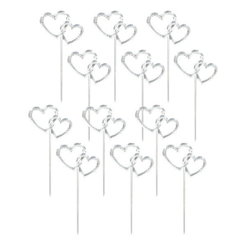 "3"" Silver Double Heart Picks"