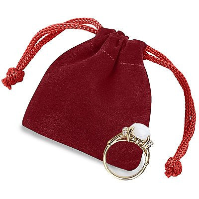 "2 x 2 1?2"" Red Velvet Pouches Velvet Velour Drawstring Jewelry Bags Pouches - 25 count"