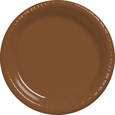 Amscan Big Party Pack Chocolate Brown Plastic Lunch Plates