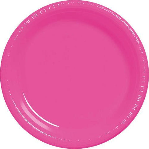 Amscan Big Party Pack Bright Pink Plastic Dessert Plates