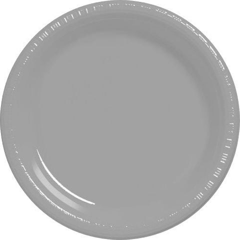 Amscan Big Party Pack Silver Plastic Lunch Plates