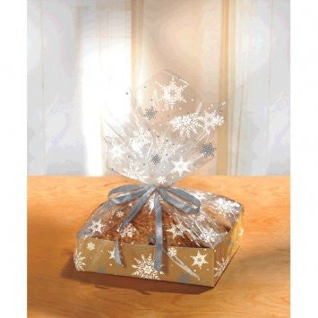 Kraft Snowflake Large Treat Tray w/ Cello Bag