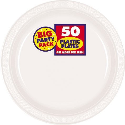 Amscan Big Party Pack White Plastic Lunch Plates