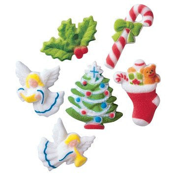 Deluxe Christmas Asst Dec-Ons Sugar Decorations / 150 count