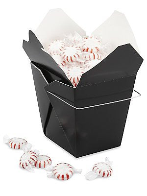 12 Chinese Take Out Boxes BLACK Pint Size (16 oz) Party Favor and Food Pail