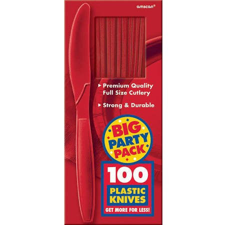 Amscan Big Party Pack Red Plastic Knives