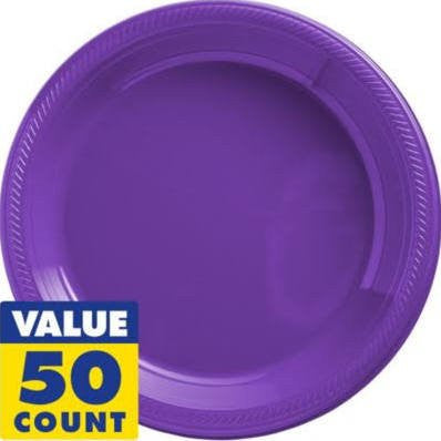 Amscan Big Party Pack New Purple Plastic Lunch Plates