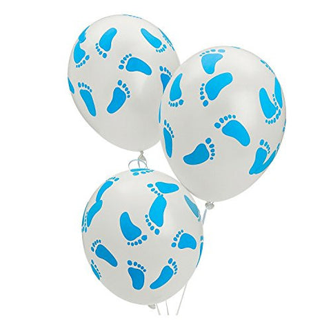 Blue Baby Footprint Latex Balloons - 25 Count