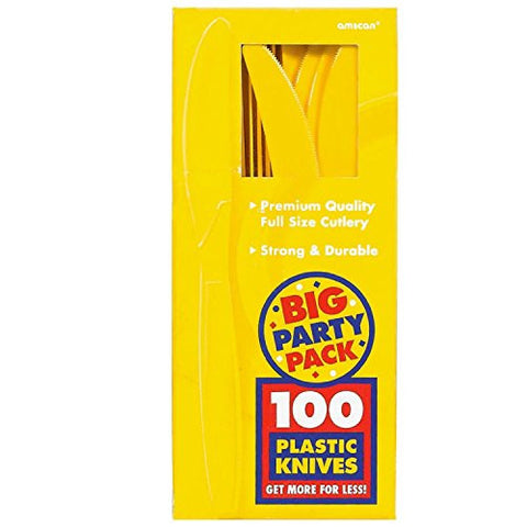 Amscan Big Party Pack Sunshine Yellow Plastic Knives
