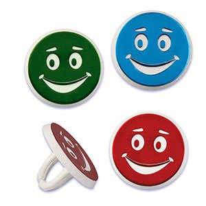 Foiled Smiley Rings / 144 pcs