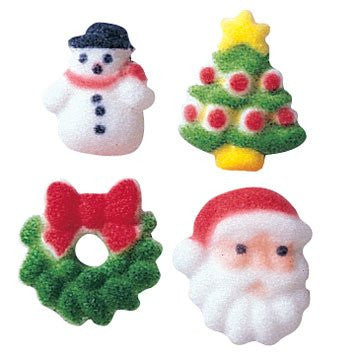 Christmas Charms Asst Dec-Ons Sugar Decorations, 608 pcs per box