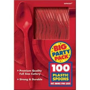 Amscan Big Party Pack Red Plastic Spoons
