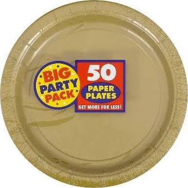Amscan Big Party Pack Gold Paper Dessert Plates