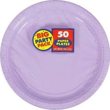Amscan Big Party Pack Lavender Paper Dessert Plates