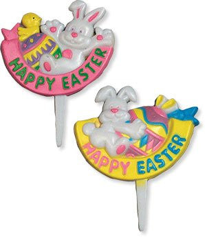 "Happy Easter Rabbit & Egg Picks - 3"" - 48 / box"