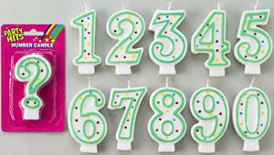 "3""  Green & White Number Candle - #1 - 12 Count"