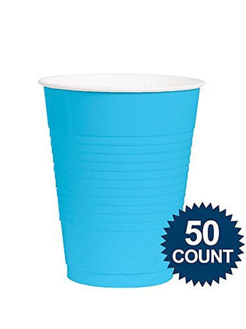 Amscan Big Party Pack Caribbean Blue 12 oz Plastic Cups