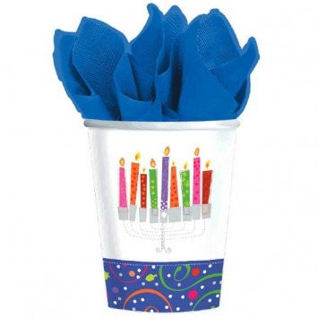 Playful Menorah Paper Cups
