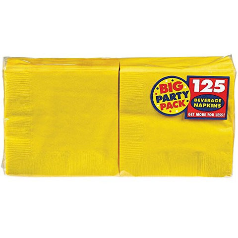 Amscan Big Party Pack Sunshine Yellow Beverage Napkins