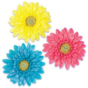 GERBERA DAISY MOLDED CANDIES (2 COLORS EACH) / 6 pcs - 5 inches