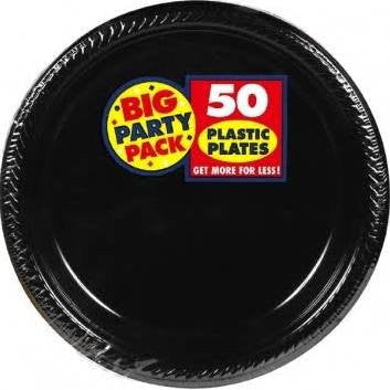 Amscan Big Party Pack Black Plastic Lunch Plates