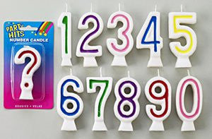 Number Candles-Assorted Colors-# 2  12 Count Box