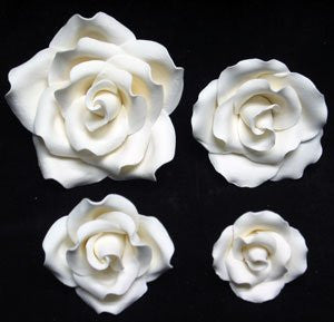 Bloomed Garden Rose-Mix Sizes-White 12 Count