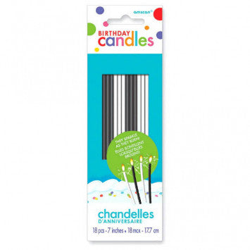 Sparkling Birthday Candles - Black & White, 1 Count