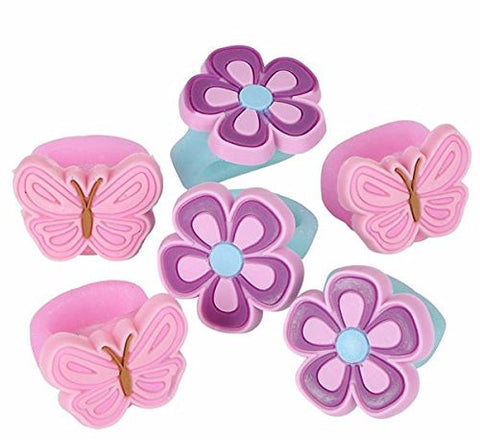 Butterfly and Flower Rings Assorted - 8 Piece