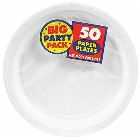 Amscan Big Party Pack White Paper Dinner Plates