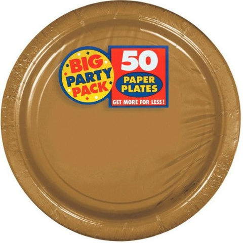 "Amscan Big Party Pack 9"" Gold Paper Dinner Plates, 50 count"