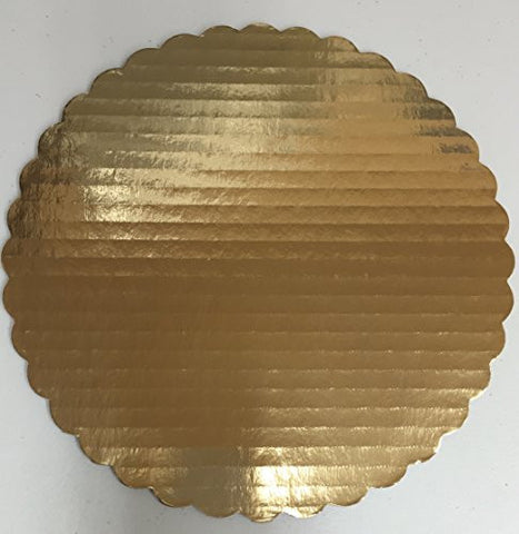 "14"" Gold Scalloped Round Cake Board Single"