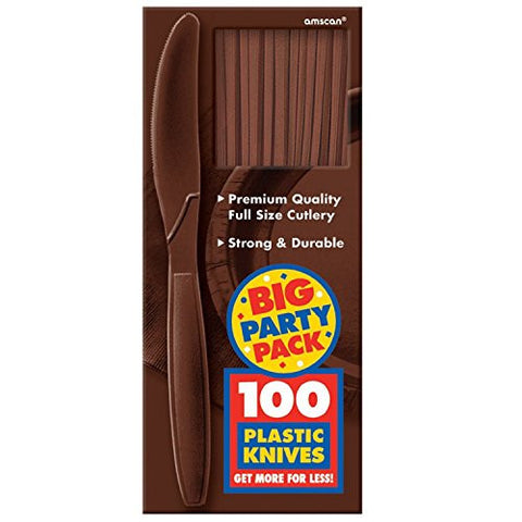 Amscan Big Party Pack Brown Plastic Knives