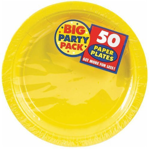 Amscan Big Party Pack Sunshine Yellow Paper Dessert Plates