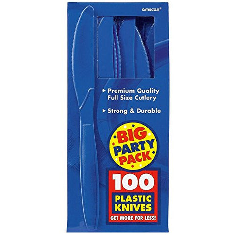 Amscan Big Party Pack Bright Royal Blue Plastic Knives