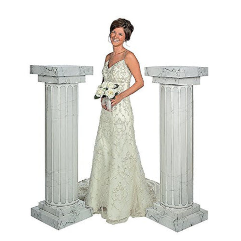 2 Piece Marble Look Fluted Columns Pillars for Wedding Ceremony, 4-1/2'