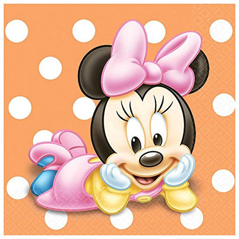 Minnie 1st Birthday Beverage Napkins