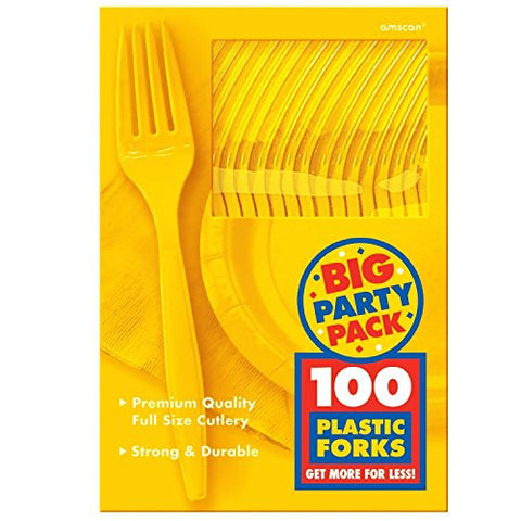 Amscan Big Party Pack Sunshine Yellow Plastic Forks